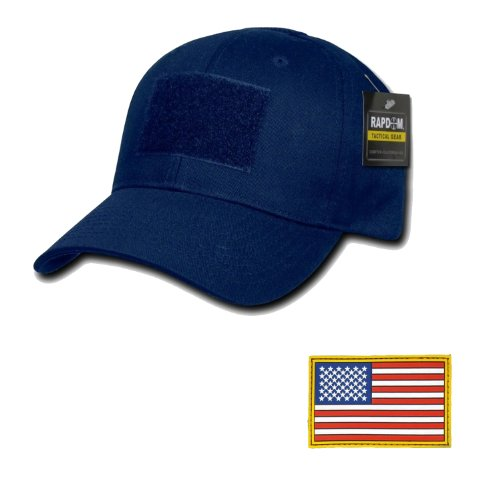 RAPDOM Tactical Constructed Ball Operator Cap Navy Caps with Free Patch (Navy Blue, A Flag Original Patch)
