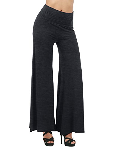 TWINTH Capri Pants Plus Size Long Leg Wide Pants Chic CHARCOAL XL (Seersucker Wide Leg Pants)