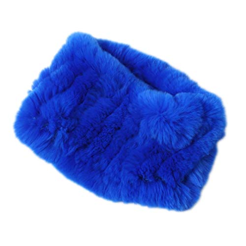 Fur Rabbit Headband Rex - Women Real Fur Handmade Stretch Fur Scarf Knit Genuine Rex Rabbit Fur Headbands Girls Natural Fur Ring Scarves Winter blue1