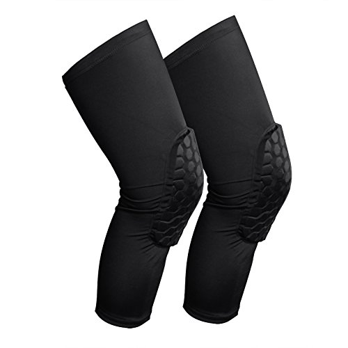 VANSU 2 Pack Honeycomb Knee Pads Knee Support for Basketball Volleyball Running Football Relieves Pain Spandex Protective Pad Knee Brace (M) (Professional Wrestling Tights)