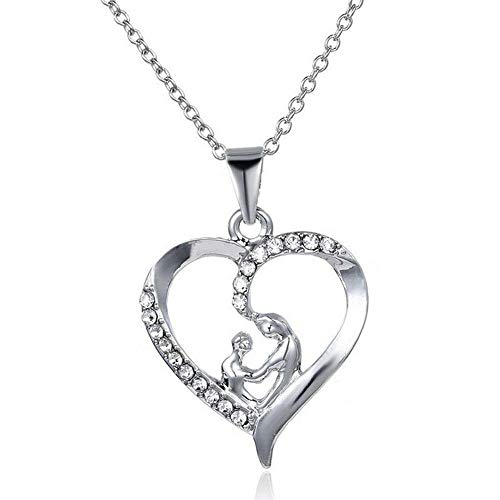 Gift Mothers Day Jewelry Love Chain Necklace MomBaby Heart Pendant