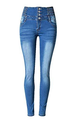 Alta Aire Elástico Cintura Un Solo Pantalones Casuales Libre Lápiz De Pecho Las Delanteros Mujeres Bolsillos Al Blau Moda Vaqueros qAYXxa