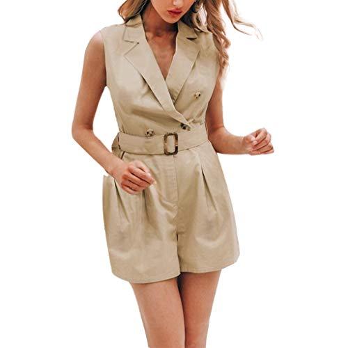 - TTINAF Dresses Women Sleeveless Short Ropmers, Cotton Linen V Turn-Down Collar Playsuits with Belt Button Shirt Jumpsuits (Large, Khaki)