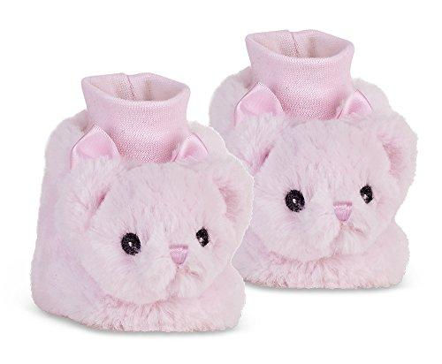 Bearington Baby Huggie Bear Plush Stuffed Animal Pink Teddy Sock Top Slipper Booties (Teddy Bear Pink Collection)