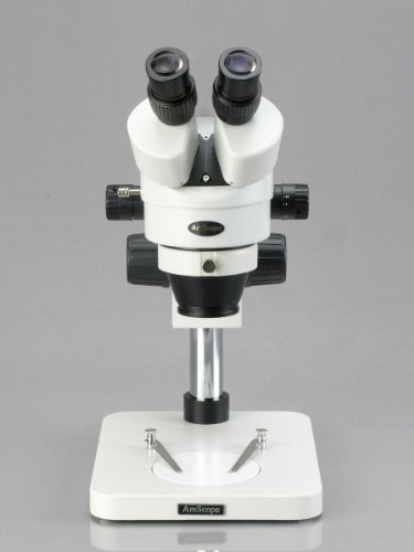 AmScope SM-1BS-64S Professional Binocular Stereo Zoom Microscope, WH10x Eyepieces, 7X-45X Magnification, 0.7X-4.5X Zoom Objective, 64-Bulb LED Ring Light, Pillar Stand, 110V-240V