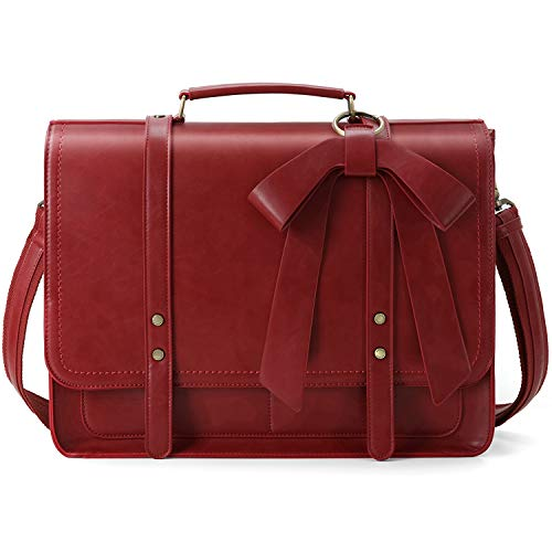 - ECOSUSI Women Briefcase PU Leather Laptop Shoulder Satchel Computer Bag with Detachable Bow fits 15.6 inch Laptops, Red