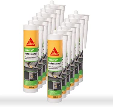 Sika Corporation 528149 Sikacryl Pofessional - Sellador de juntas (acrílico, 12 x 300 ml), color blanco: Amazon.es: Bricolaje y herramientas