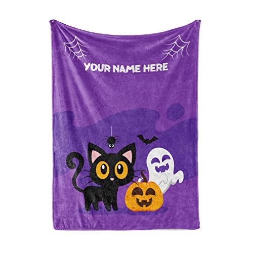 Personalized Black Cat Halloween Throw Blanket - Warm, Plush Minky Fleece and Sherpa Throw Blankets for Girls, Boys, Kids, Toddlers Perfect for Fall Decorations Fluffy Fuzzy (30