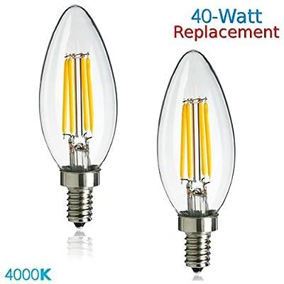 Luxrite LR21244 (2-Pack) 4W LED Filament Candelabra Bulb, 40W Equivalent, Cool White 4100K, 350 Lumens, E12 Candelabra Base, Torpedo Shape