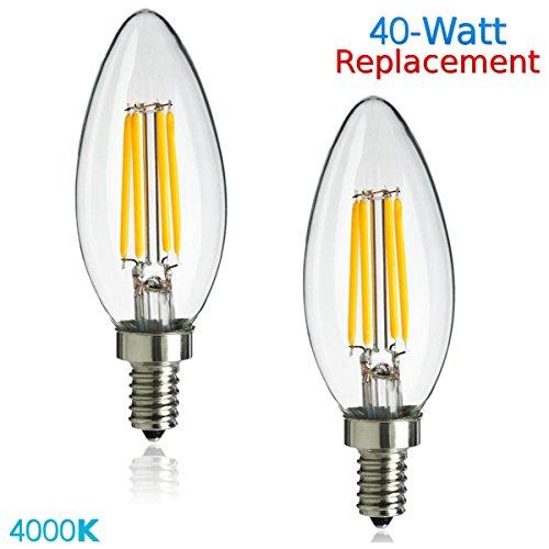 Luxrite LR21244 (2-Pack) 4W LED Filament Candelabra Bulb, 40W Equivalent, Cool White 4100K, 350 Lumens, E12 Candelabra Base, Torpedo Shape - 14w Torpedo Lamp
