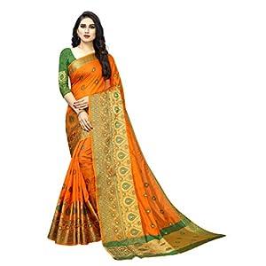 VAIVIDHYAM Designer Sarees Women's Banarasi Cotton Silk Saree With Blouse Piece.