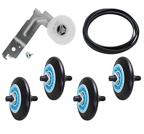 Siwdoy Dryer Repair Kit DC97-16782A Drum Roller, 6602-001655 Dryer Belt and DC93-00634A Dryer Idler Pulley Compatible with Samsung Dryer Replace AP5325135 AP4373659 AP6038887 PS4221885 PS4133825