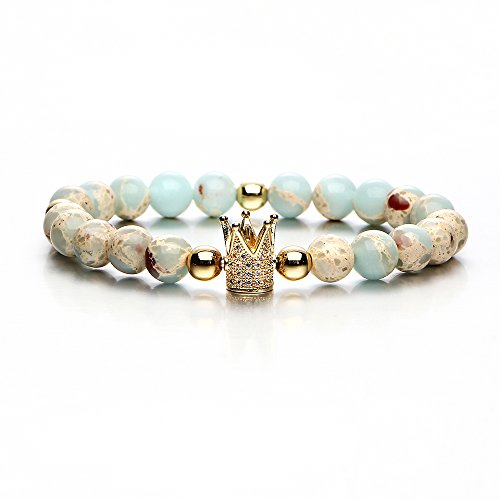 17mile Crown Charm Natural Stone Bracelet Prayer Yoga Gemstone Stretch Bracelet Gifts for Women and (Gemstone Crown)