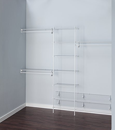 ClosetMaid 5037 5ft. to 8ft. Fixed Mount Closet Organizer Kit, White