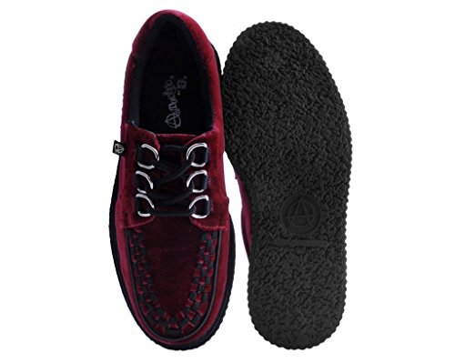 3 u Rouge k Velours Creeper Shoes Féminin T Anarchique Bourgogne De Bague 78FWqS