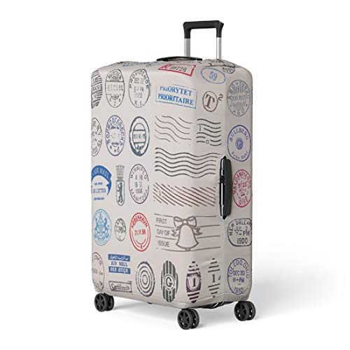 Pinbeam Luggage Cover 39 Vintage Postage Stamps From Countries All Travel Suitcase Cover Protector Baggage Case Fits 26-28 inches