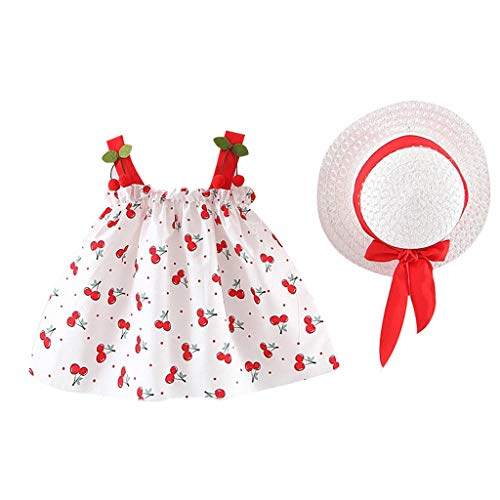 (CCSDR 2 Packs Clothing Set for Toddler Baby Kids Girls Summer Strap Cherry Ruched Princess Dress Casual Clothes+ Straw Hat)