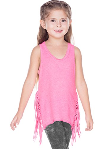 (Kavio! Girls 7-16 Sheer Jersey Asymmetrical Side Fringe Tank Pink Flash M)