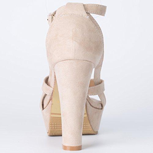 Oasap Mujer Zapatos de Tacón Alto Plataforma Pu Color Sólido Negro