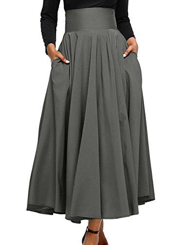t Rtro Jupe avec Bandage Femme Casual Couleur Unie Maxi Jupe de Plage Fashion Plisse Haute Taille Jupes de Fte Soire Cocktail Gris