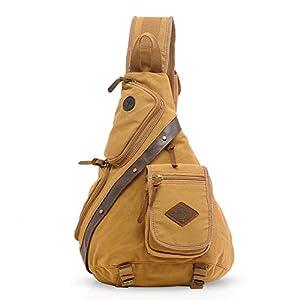 FANDARE Vintage Shoulder Backpack Cross Body Bag Sling Bag Chest Pack Bag Chest Strap Bag One Strap Messenger Bag Backpack Men/Women Cycling Hiking Camping Outdoor Travel Bag Canvas Khaki