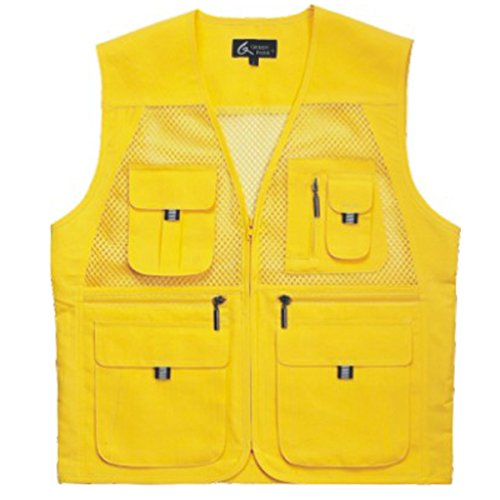 myglory77mall Men's Multi Pockets Fly Fishing Hunting Mesh Vest Outdoor Jacket Wang S US(L tag Asian) Yellow