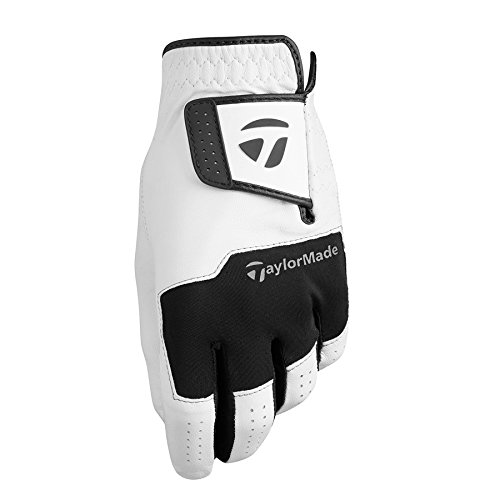 TaylorMade Stratus All Leather Glove (White/Black, Left Hand, Medium/Large), White/Black(Medium/Large, Worn on Left Hand)