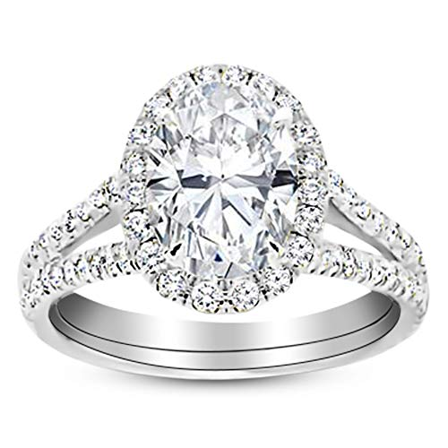 (1.5 Ctw 14K White Gold Split Shank Oval Cut Diamond Engagement Ring (1 Ct K Color SI1 Clarity Center Stone))