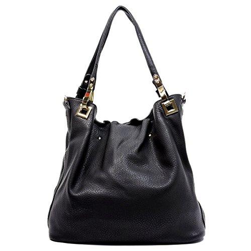 Side Zip Shoulder Handbag (Black)