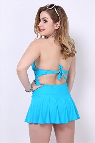 Fortuning's JDS Nuevo vacaciones de verano más el tamaño de espalda escotada bordeó el traje de baño para las mujeres azul
