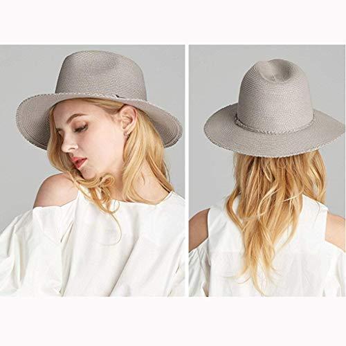 Ancha Vacaciones Para De Grau Playa Sombrero Paja Modernas Elegante Ocio Casual Verano Mujer Solar Acogedor Sol Ala Protector qaHvHBg