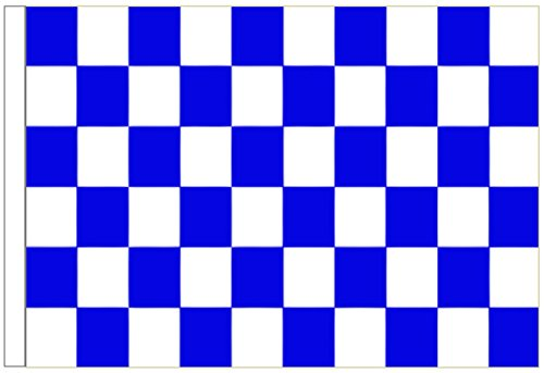 Royal Blue and White Check Sleeved Flag 3'x2' (90cm x 60cm) - Woven Polyester ()