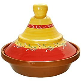"Reston Lloyd Hand Painted Natural Terra Cotta Tagine 3 Hand painted Spanish tagine made of natural terra cotta for Moroccan and Alegerian slow cooking Contains circular base with decorative cover with a vented hole which returns all condensation to the bottom for optimum flavor Holds 2-quarts (8 cups) and measures 10 1/2""D x 8 1/2""H"