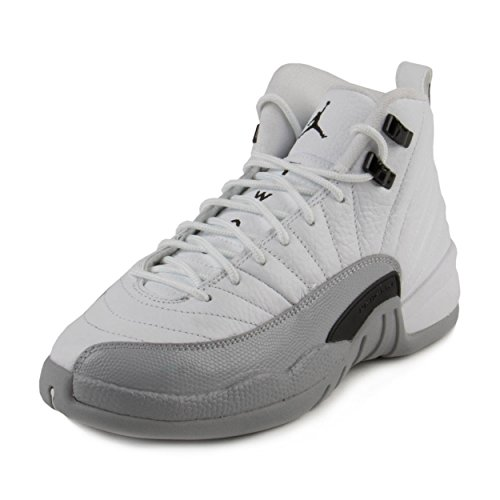 Jordan Kid's Air 12 Retro GG, White/Black-Wolf Grey, Youth Size 6
