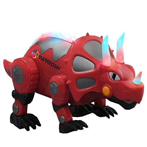 (YARMOSHI Walking Triceratops Dinosaur Robot Toy - Battery Operated. Colorful Glowing Lights. Moving Limbs, Music Playing. Jurassic Fun Gift for Boys and Girls, 5.5x5.8x14.1 Inches, Age 2+)