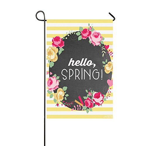 "Yard and Home Outdoor Decor - Hello Spring Important Holiday Celebrate Garden Decor Flag,12""x18"" Polyester Double Sided"