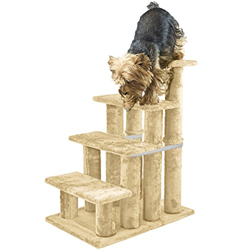 (FurHaven Pet Stairs | Steady Paws 4-Step Pet Stairs, Cream)