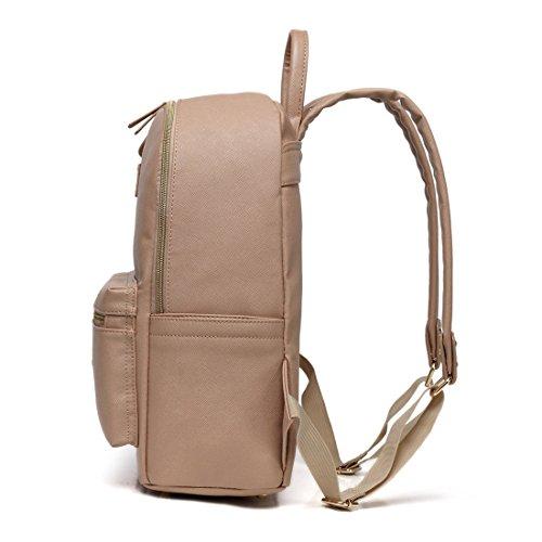 Fumee piel sintética multifuncional bolsa de pañales/moda viaje acolchada mochila/hombro ajustable bolsa con cambiador negro negro caqui
