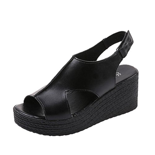 Sonnena Womens Sandals Women Fashion Thick Bottom Wedges Slope Open Toe Sandals Buckle Strap Shoes Black WGTzfozT