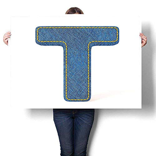 J Chief Sky Letter T Wall Decoration Alphabet Design with Denim Texture Element Blue Jeans Stitches Illustration Print Digitally Printed Blue Yellow 24