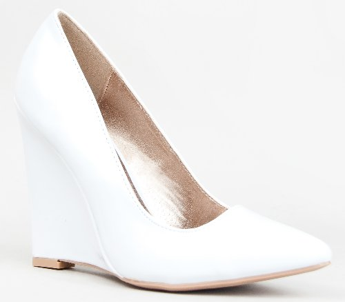 Amazon.com | Qupid MEESTER-01 Single Sole Pointy Toe Wedge Heel ...