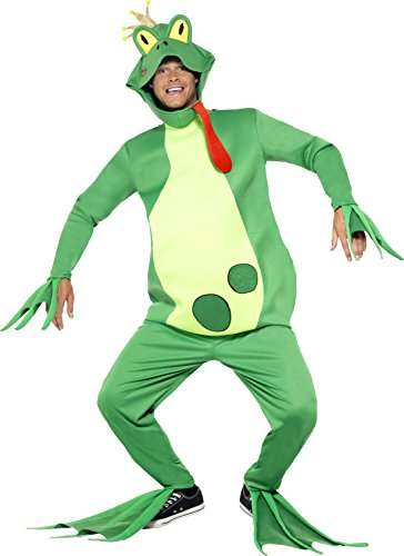 (Smiffys Adult Unisex Frog Prince Costume, Top with Attached Gloves, pants, Headpiece and Feet Covers, Party Animals, Serious Fun, One Size,)
