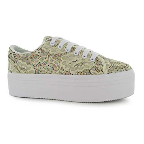 Jeffrey Campbell Play Zomg Plateforme Chaussures pour Femme Crème Baskets Sneakers