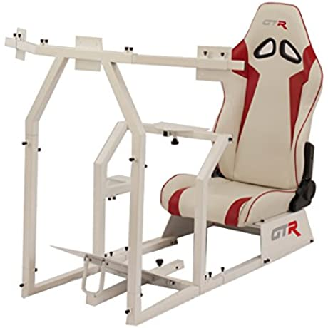 GTR Racing Simulator GTAF WHT S105LWHTRD GTA F Model White Triple Or Single Monitor Stand With White Red Adjustable Leatherette Seat Racing Simulator Cockpit Gaming Chair Single Monitor Stand