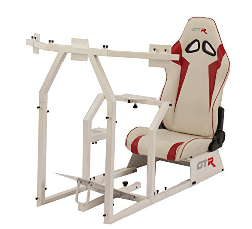 414HurtrJVL - GTR-Racing-Simulator-GTAF-WHT-S105LWHTRD-GTA-F-Model-White-Triple-or-Single-Monitor-Stand-with-WhiteRed-Adjustable-Leatherette-Seat-Racing-Simulator-Cockpit-gaming-chair-Single-Monitor-Stand