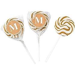 Personalized Gold Monogram Swirl Lollipops