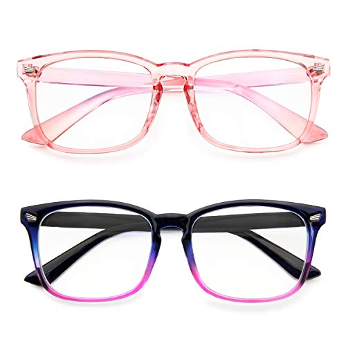 Blue Light Blocking Glasses Anti Eye Strain Minimize Headache UV400 Blocking Computer Reading Gaming Eyeglasses Frame (2 Pack(Pink & Gradient Purple))