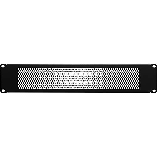 (NavePoint 2U Blank Rack Mount Panel Spacer With Venting For 19-Inch Server Network Rack Enclosure Or Cabinet Black)