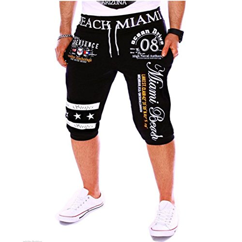 (Men's Sport Pants Capri Pants - LimseaFashion Printing Shorts Drawstring Elastic Waist Casual Loose Gym Bodybuilding Joggers Black)