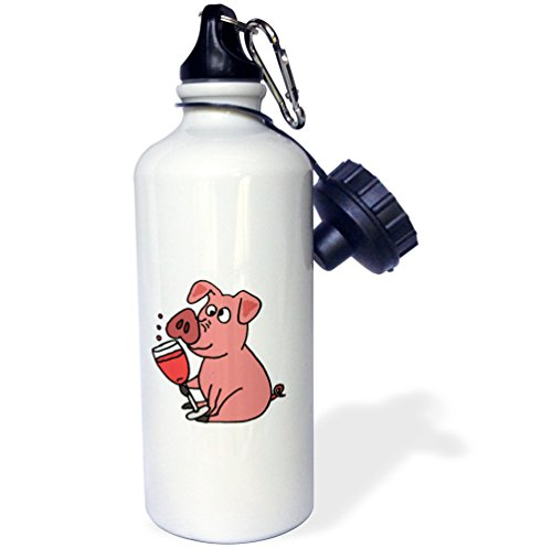 3dRose All Smiles Art Food and Drinks - Funny Pink Pig Drinking Wine Cartoon - 21 oz Sports Water Bottle (wb_240058_1) (Pink Zinfandel Wine)
